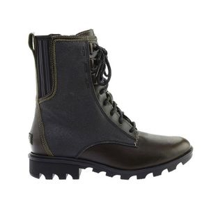 SOREL Phoenix Waterproof Combat Boots Green Black
